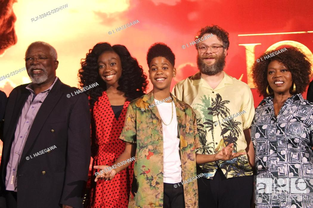 "Stock Photo: John Kani, Shahadi Wright Joseph, JD McCrary, Seth Rogen, Alfre Woodard 07/10/2019 """"The Lion King"""" Press Conference held at the Montage Beverly Hills Luxury."