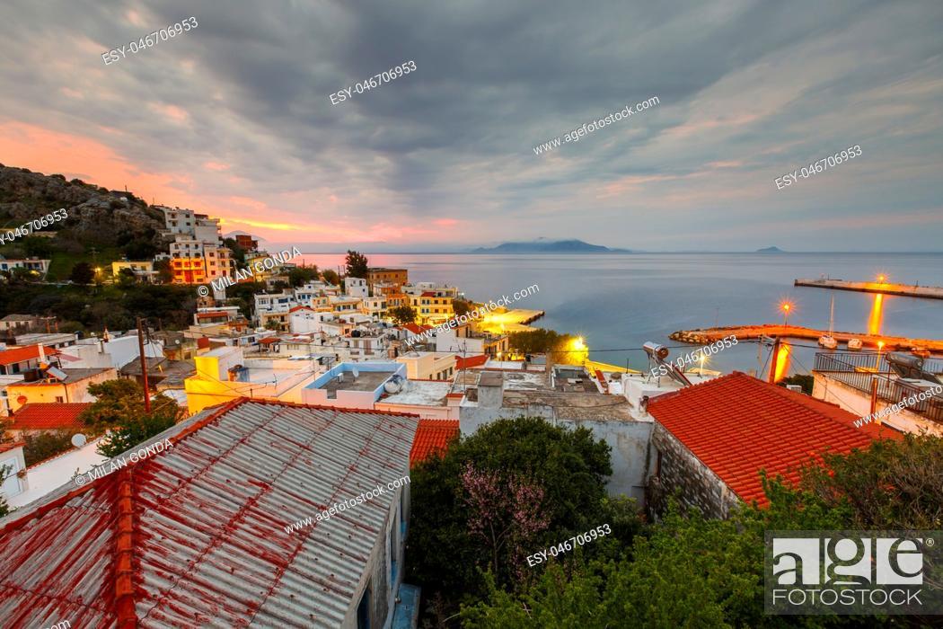 Stock Photo: Agios Kirikos village on Ikaria island in Greece. .