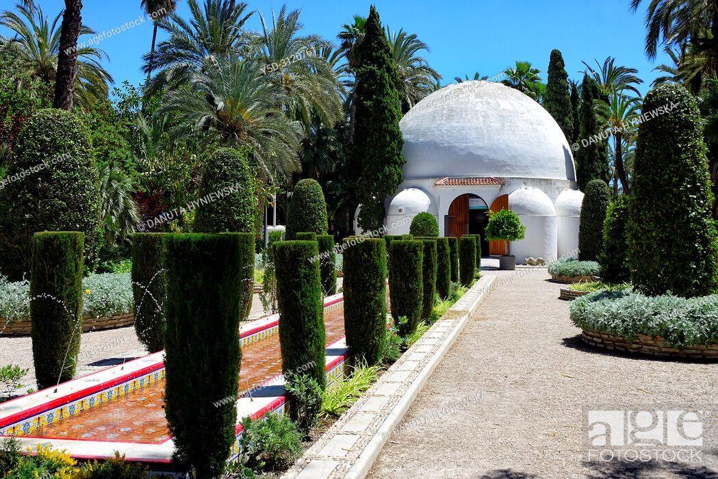 Stock Photo: Palmeral - Moorish date palm orchards - designated by UNESCO as a World Heritage Site, Elche, Elx, Alicante province, Valencian Community, Costa Blanca, Spain.