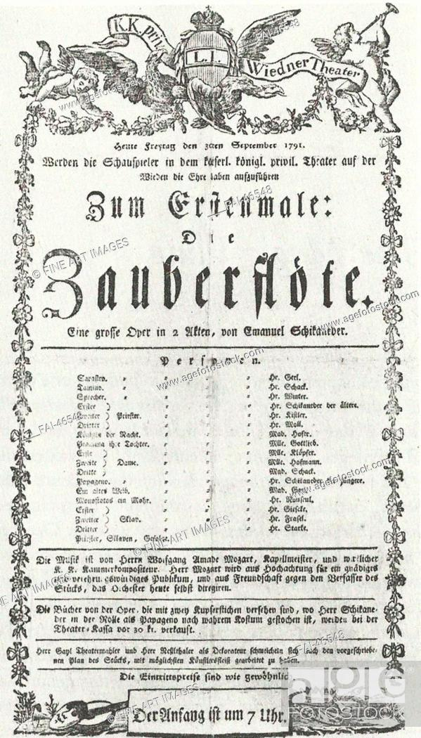 Stock Photo: Playbill from the first performance of The Magic Flute at the Theater auf der Wieden in Vienna, September 30, 1791 by Anonymous.