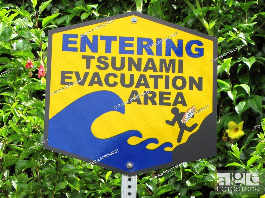 Stock Photo: Tsunami evacuation area sign, Hilo, Big Island, Hawaii, USA.