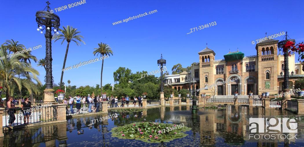 Imagen: Spain; Andalusia; Seville; Parque Maria Luisa, Pabellon Mudejar, Museo Artes y Costumbres Populares, .