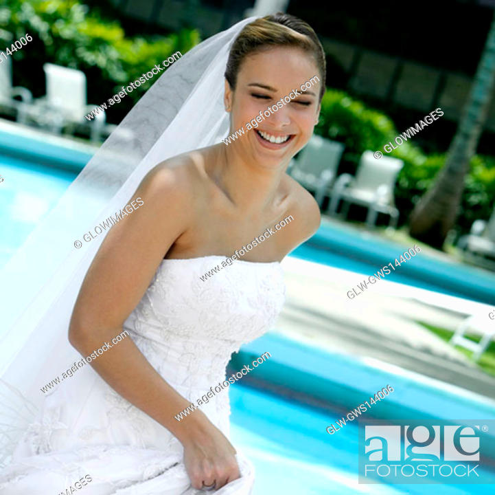 Stock Photo: Close-up of a bride smiling.