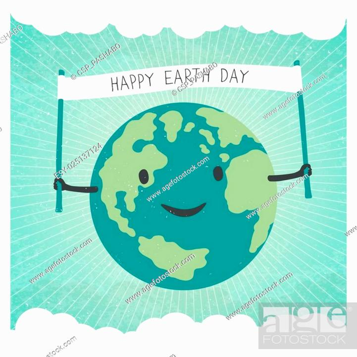 Stock Vector: Cartoon Earth Illustration. Planet smile and hold banner with Happy Earth Day words. On sunbeam rays background. Sky with clouds background.
