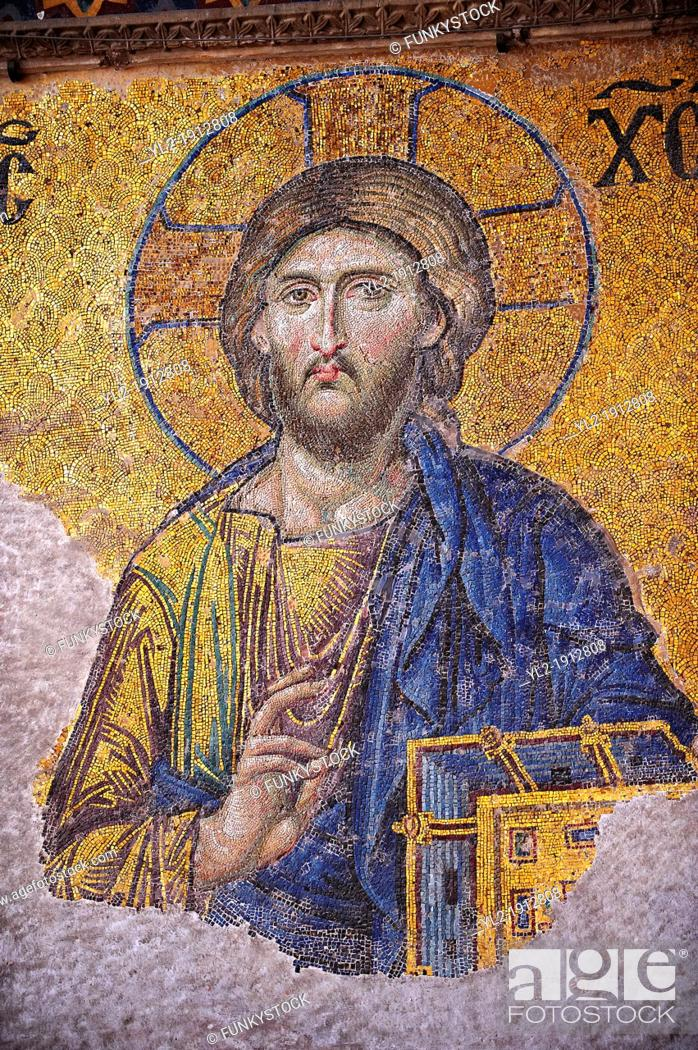 Stock Photo: Byzantine mosaic, 1261, detail of Christ Pantocrator for humanity on Judgment Day Hagia Sophia, Istanbul, Turkey.
