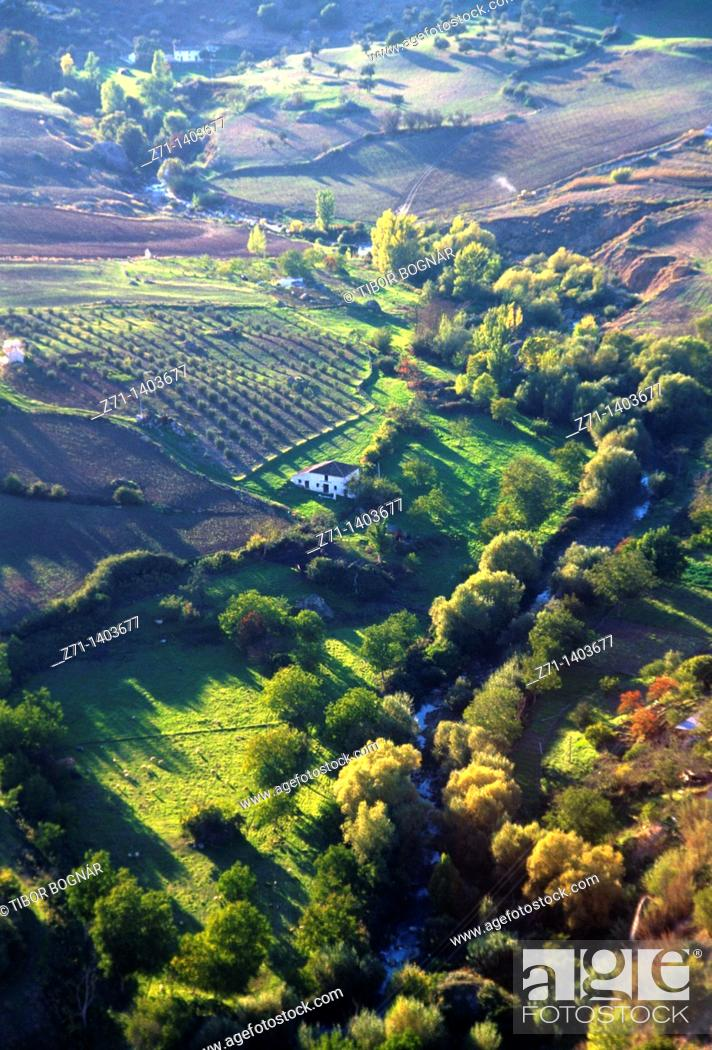 Stock Photo: Spain, Andalusia, Ronda, landscape, aerial view,.