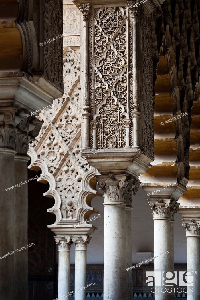Stock Photo: mozarabes columns and arches in the Andalusian Islamic palace, Reales Alcazares, Seville, Andalucia, Spain, europe.