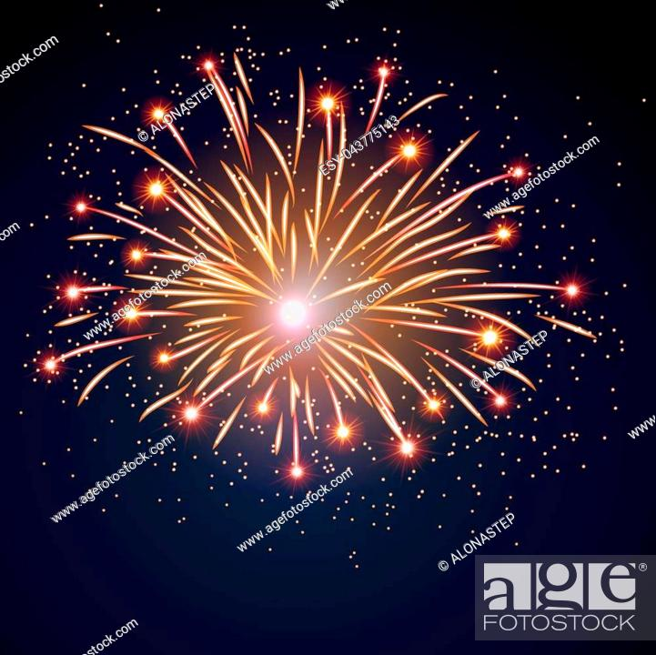 Stock Vector: Firework bursting sparkle background. Isolated gold colorful night fire, beautiful explosion for celebration, holiday, Christmas, New Year, birthday.