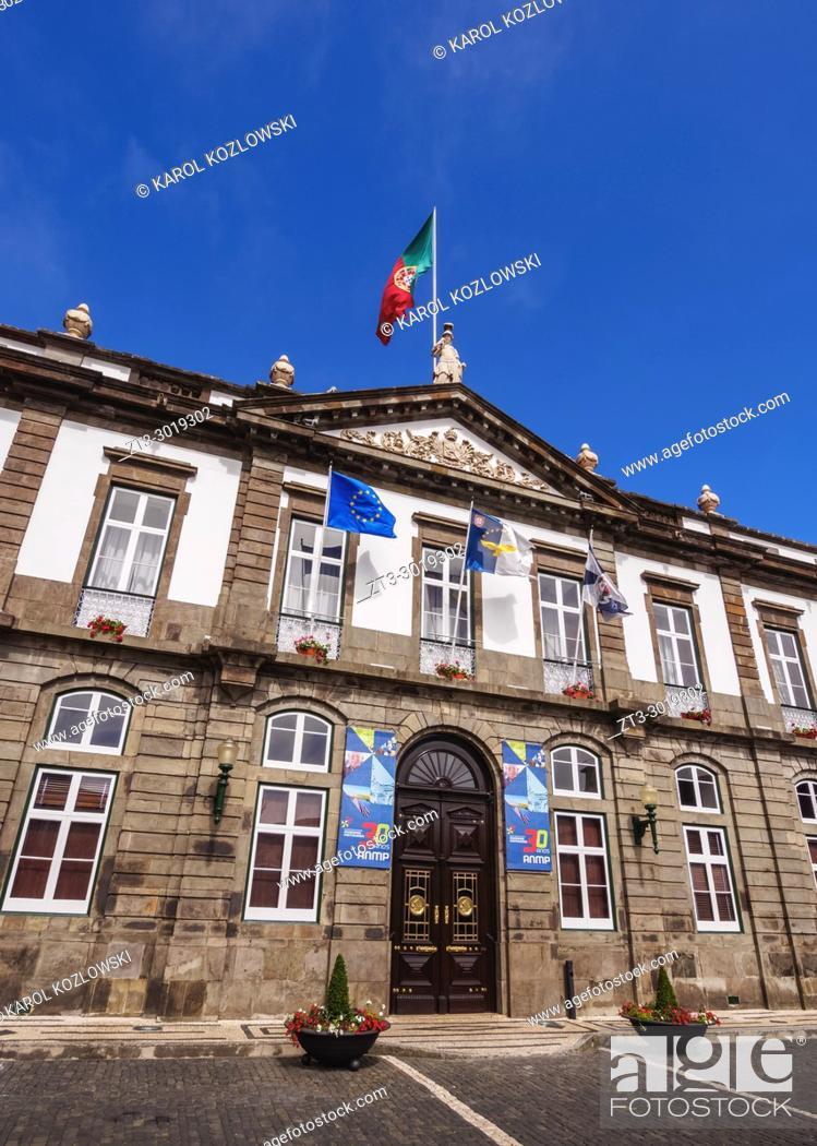 Stock Photo: Town Hall, Angra do Heroismo, Terceira Island, Azores, Portugal.