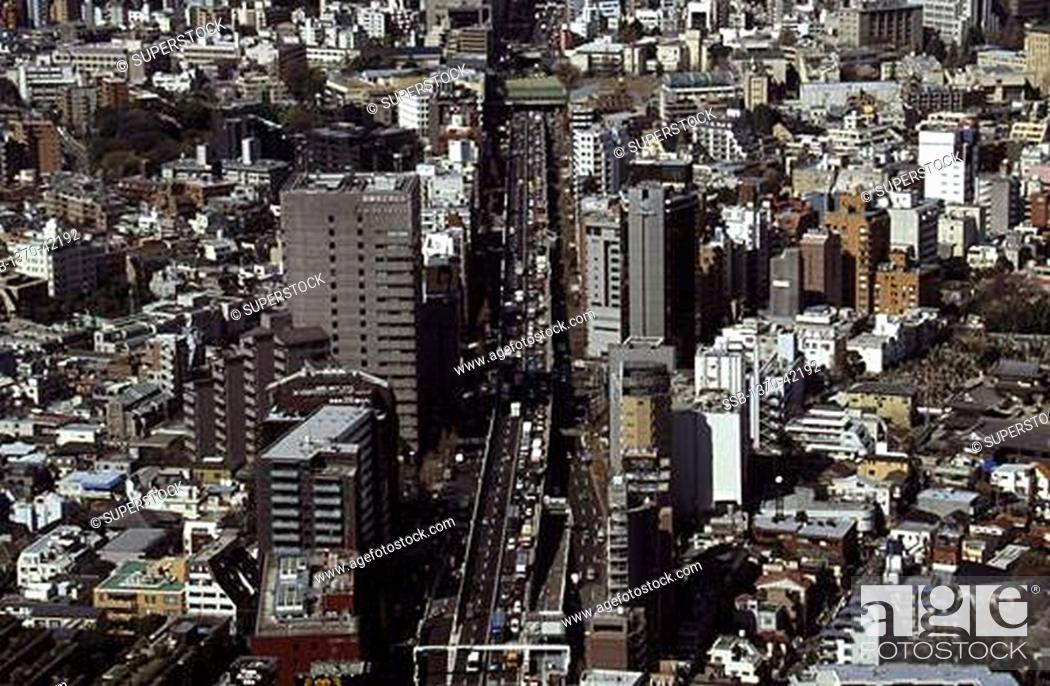 Stock Photo: Aerial view of a cityscape, Tokyo, Japan.