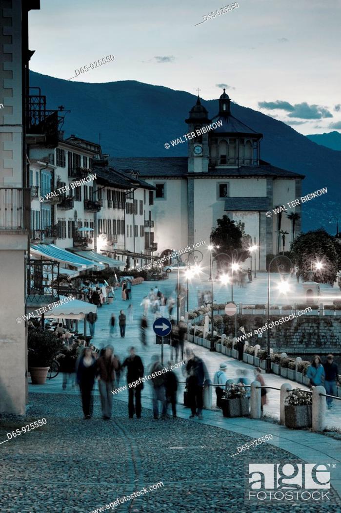 Stock Photo: Italy, Piedmont, Lake Maggiore, Cannobio, Piazza Vittorio Emanuele III, evening.