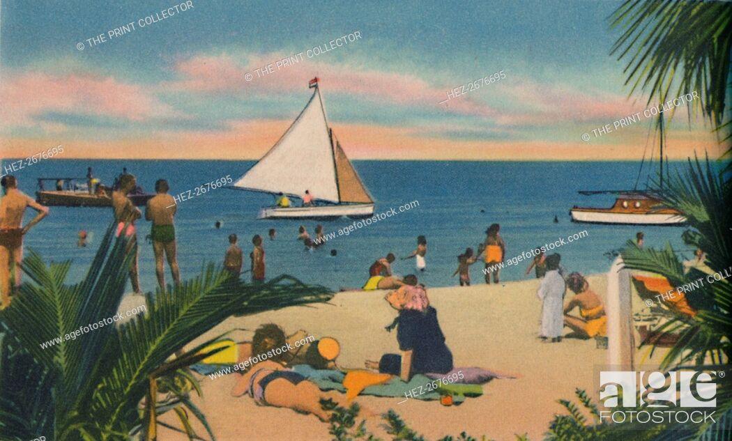 Stock Photo: 'Beach at Pradomar. 20 minutes from Barranquilla', c1940s. Artist: Unknown.
