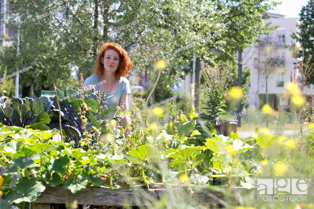 Stock Photo: Young woman gardening, urban gardening.