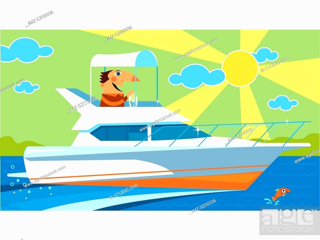 Stock Photo: Man travelling in a motor yacht.