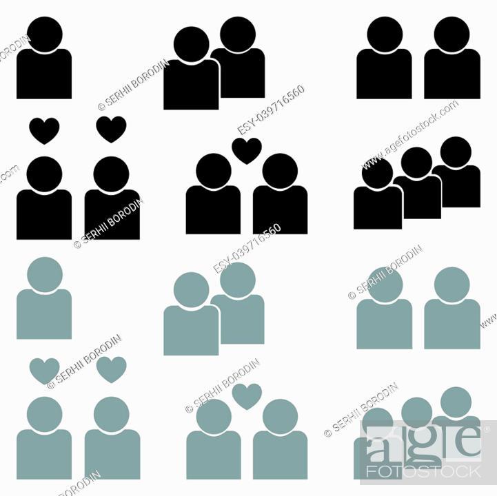 Vector: Human sociability set black and grey color Flat style.