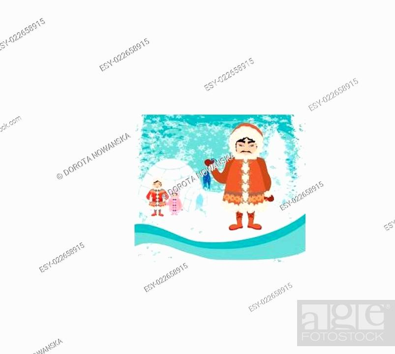 Stock Vector: eskimos family - abstract background.