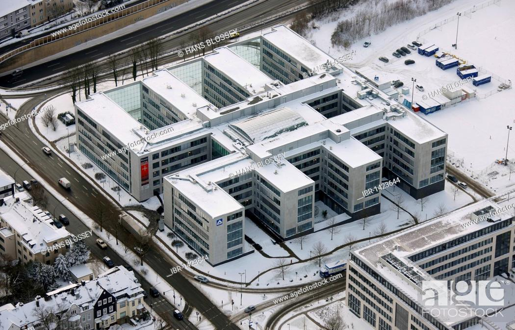 Imagen: Aerial photo, HochTief headquarters in the snow, Essen, Ruhr area, North Rhine-Westphalia, Germany, Europe.