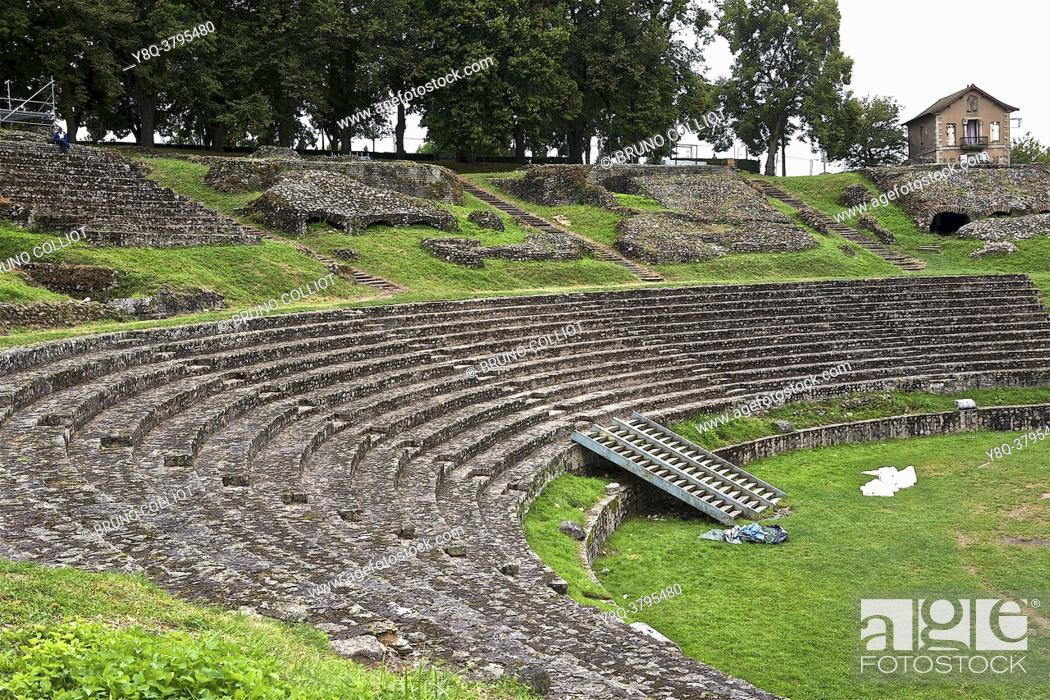 Stock Photo: Roman theater, Gallo-Roman site in Autun, Burgundy, France.