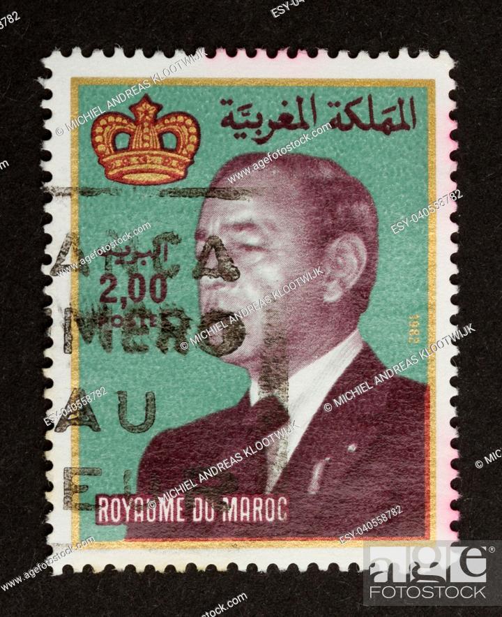 Stock Photo: MAROCCO - CIRCA 1970: Stamp printed in Marocco shows a local leader, circa 1970.