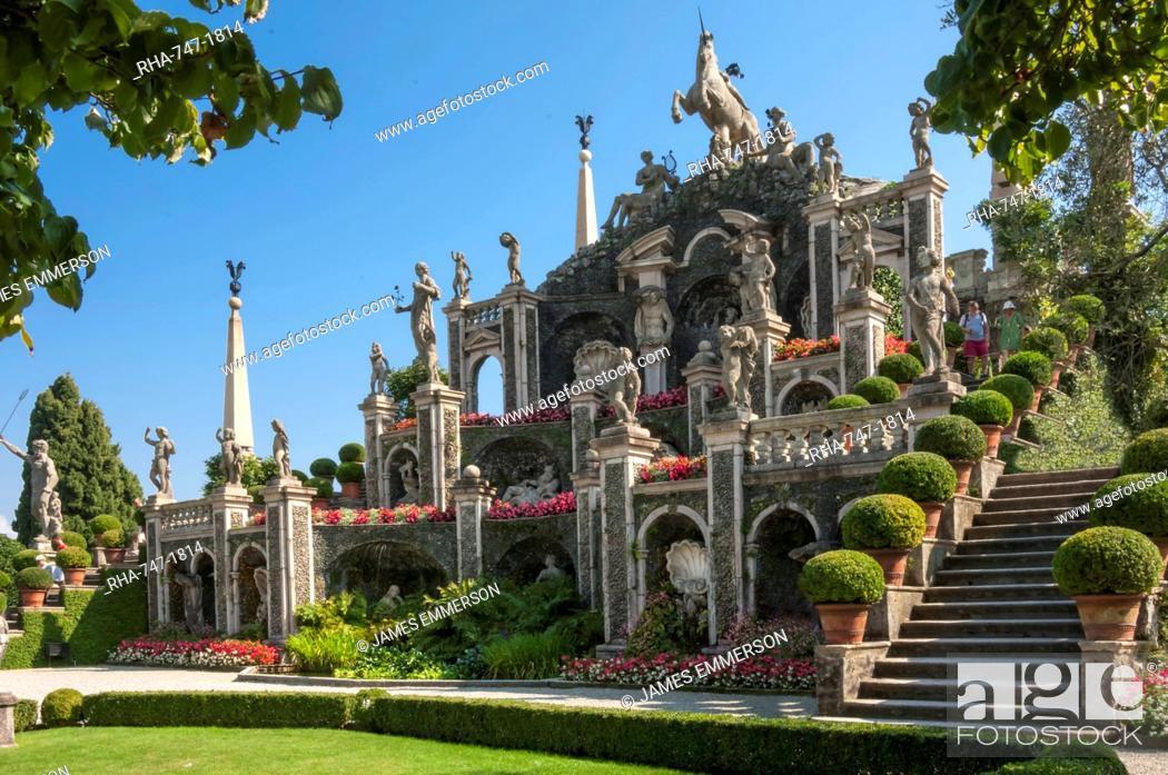 Stock Photo: Floral Fountains, Isola Bella, Borromean Islands, Lake Maggiore, Piedmont, Italian Lakes, Italy, Europe.