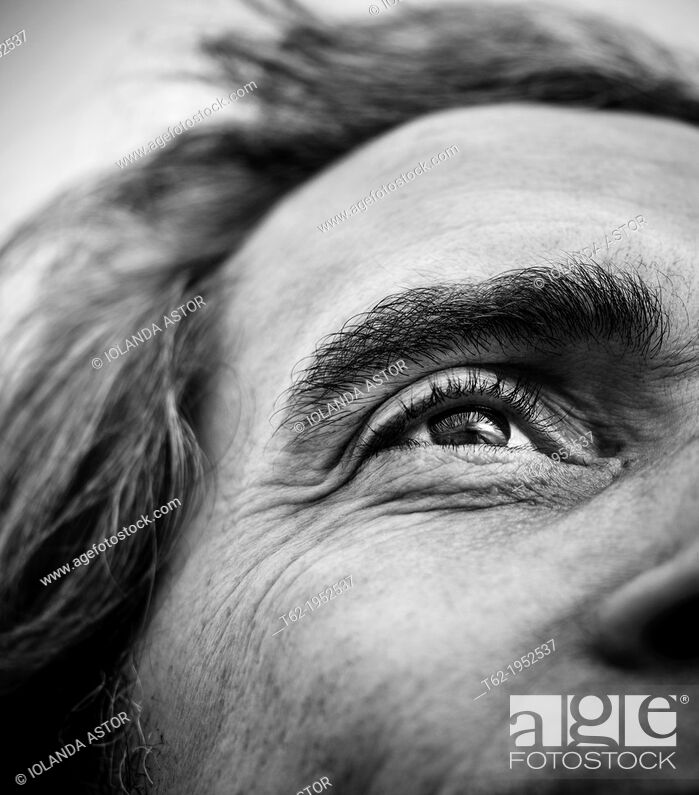 Stock Photo: Closeup of a man's eye. White and black.