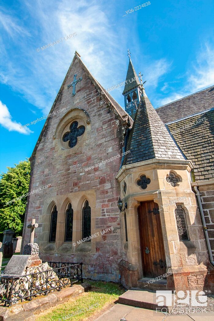 Stock Photo: Luss Parish Church is a Church of Scotland , Argyll and Bute. The present church building was constructed in 1875, and subject to major restoration works in.