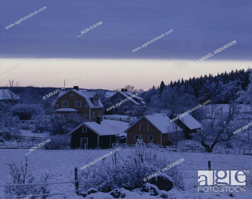 Stock Photo: A snowy village at Ostergotland, Sweden.