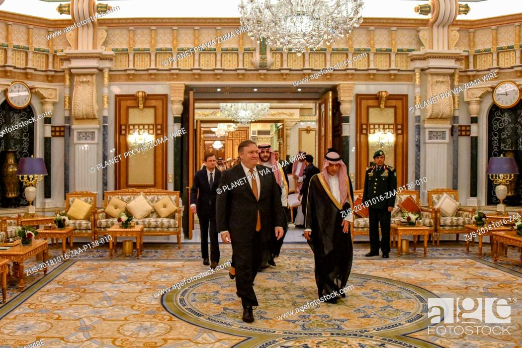 Stock Photo: October 16, 2018 - Riyadh, Saudi Arabia - U.S. Secretary of State Mike Pompeo, left, is escorted by Saudi Foreign Minister Adel al-Jubeir to a bilateral meeting.