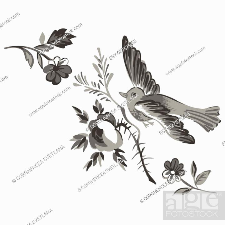 Stock Vector: Flying bird with branch of a rose isolated on white, diagonal element design for greeting card, celebrate gift, invitation message.