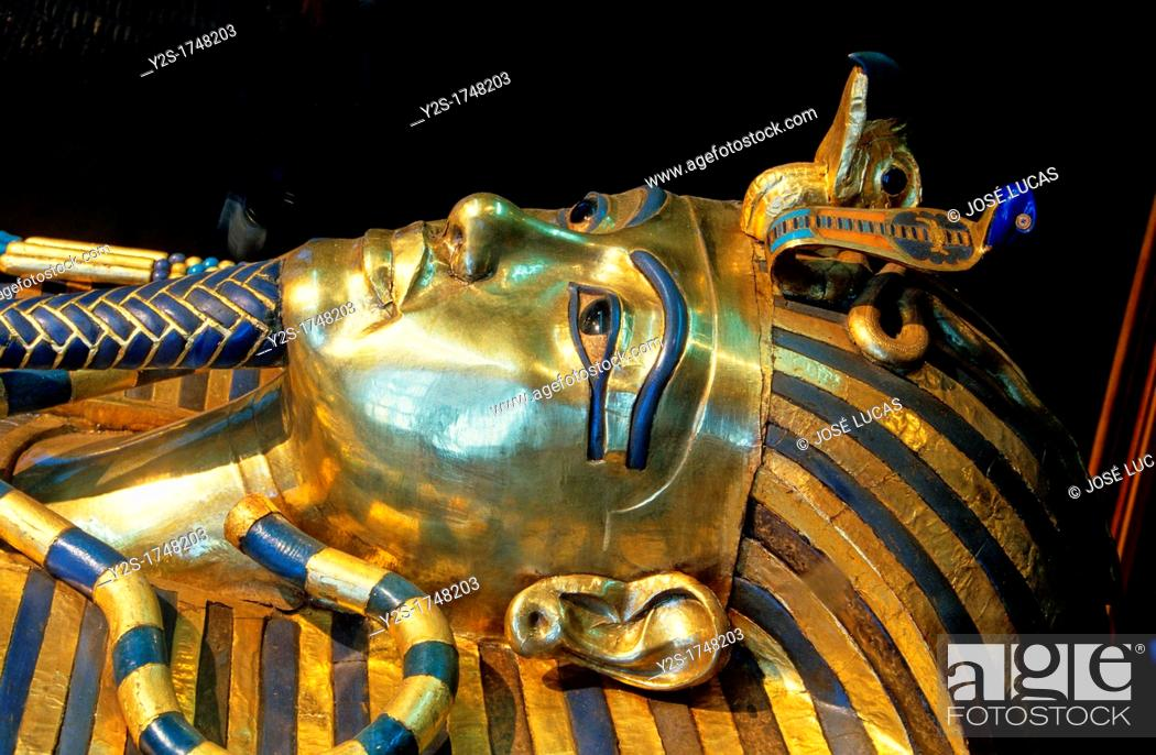 Stock Photo: Sarcophagus of Tutankhamun-detail, Museum of Egyptian Antiquities, Cairo, Egypt,.