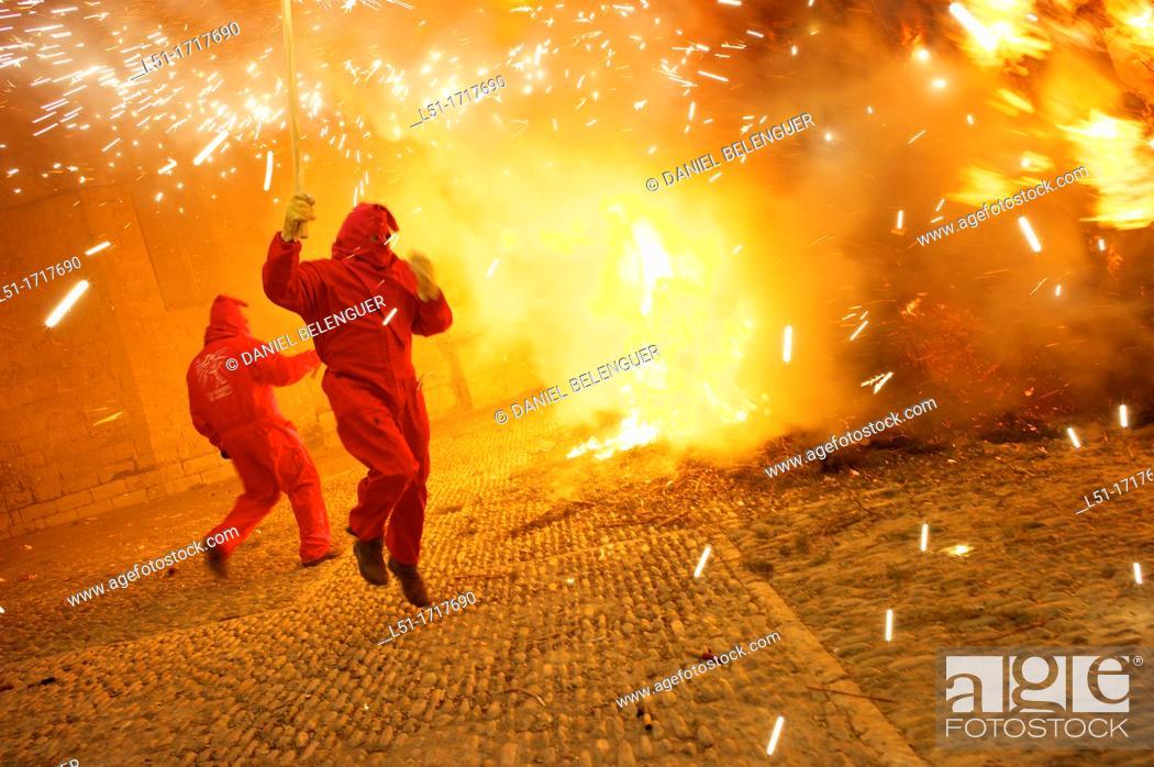 Stock Photo: Devils during the San Antoni Festival in Morella, Castellon, Spain.
