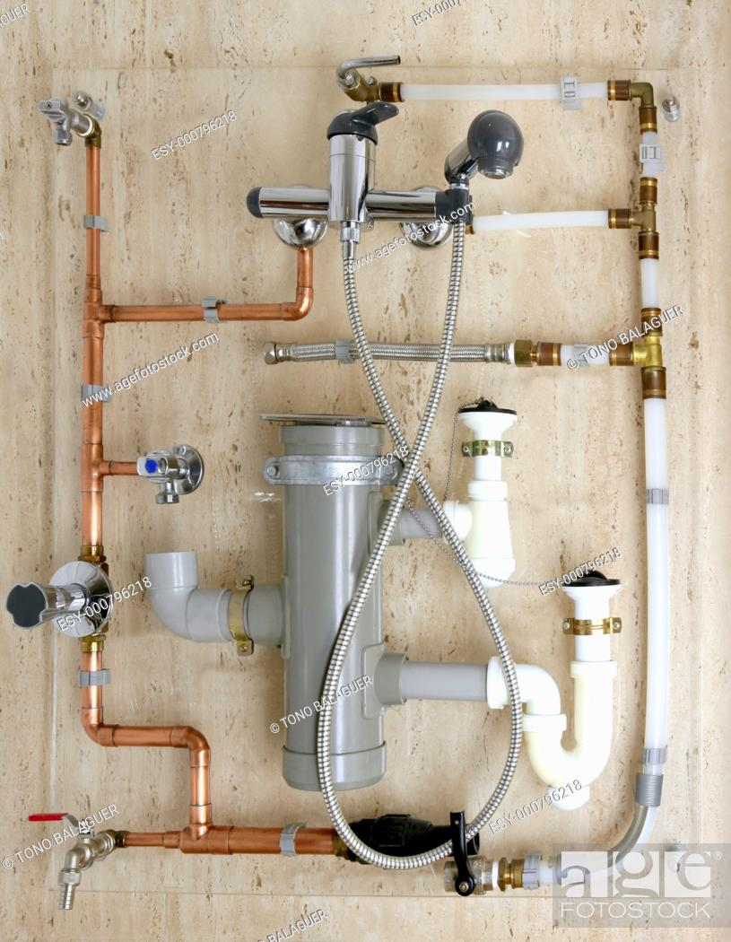 Stock Photo: copper plumbing installation and polyethylene pvc diagram stoves valves drain.