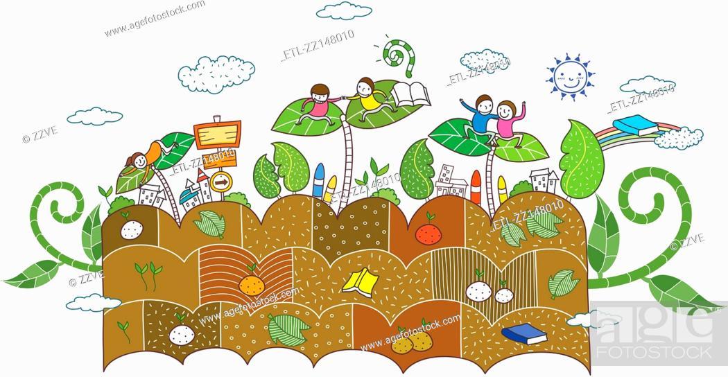Stock Photo: plants and children.