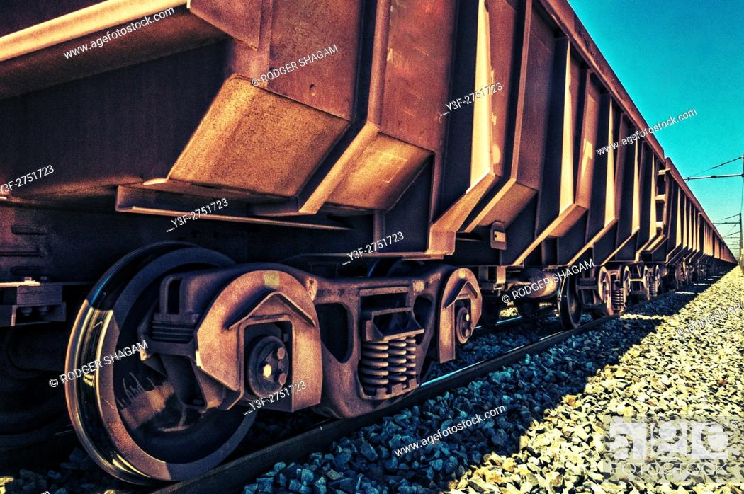 Stock Photo: Railway truck used to ship iron ore across South Africa from the mine to a smelting plant.