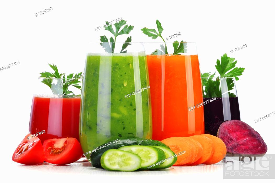 Stock Photo: Glasses with fresh vegetable juices isolated on white. Detox diet.