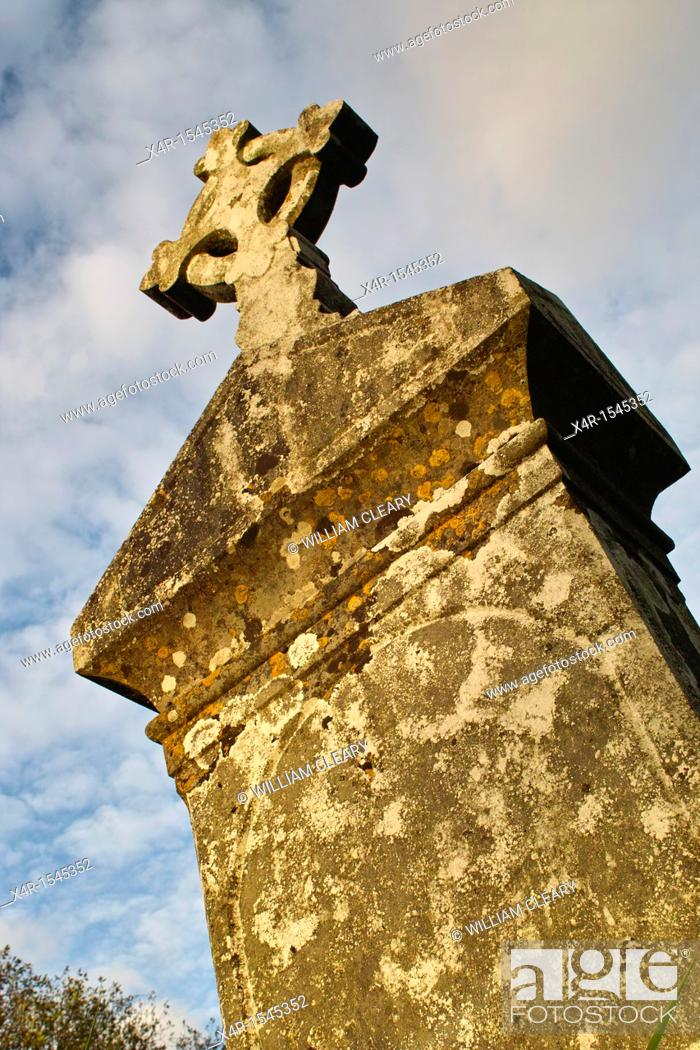 Stock Photo: Headstone in the old graveyard at Churchtown Cross, Loughnavalley, County Westmeath, Ireland.