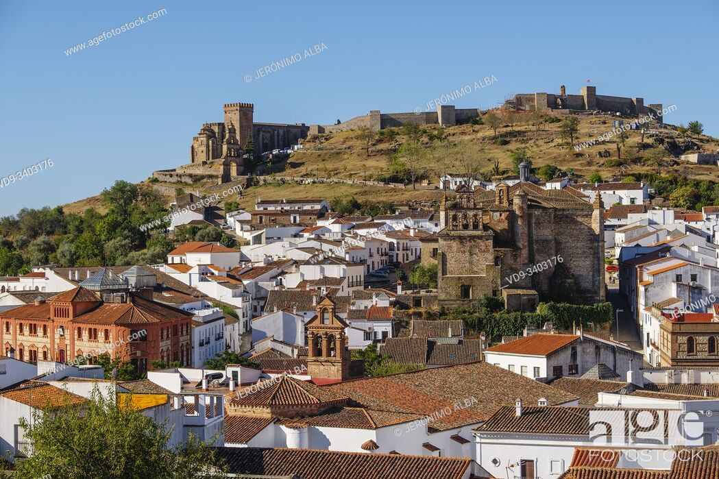 Stock Photo: Panoramic view of Aracena. Sierra de Aracena and Picos de Aroche Natural Park. Huelva province. Southern Andalusia, Spain. Europe.