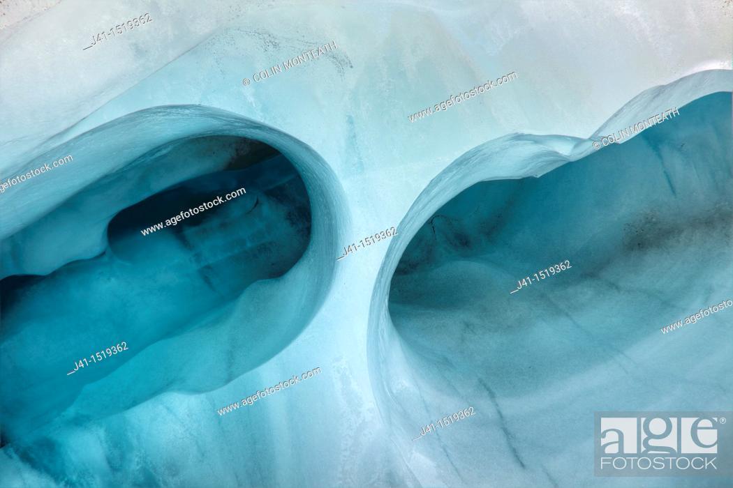 Stock Photo: Tunnel in crevasse ice wall, Franz Josef Glacier, Westland National Park, West Coast, South Island, New Zealand.