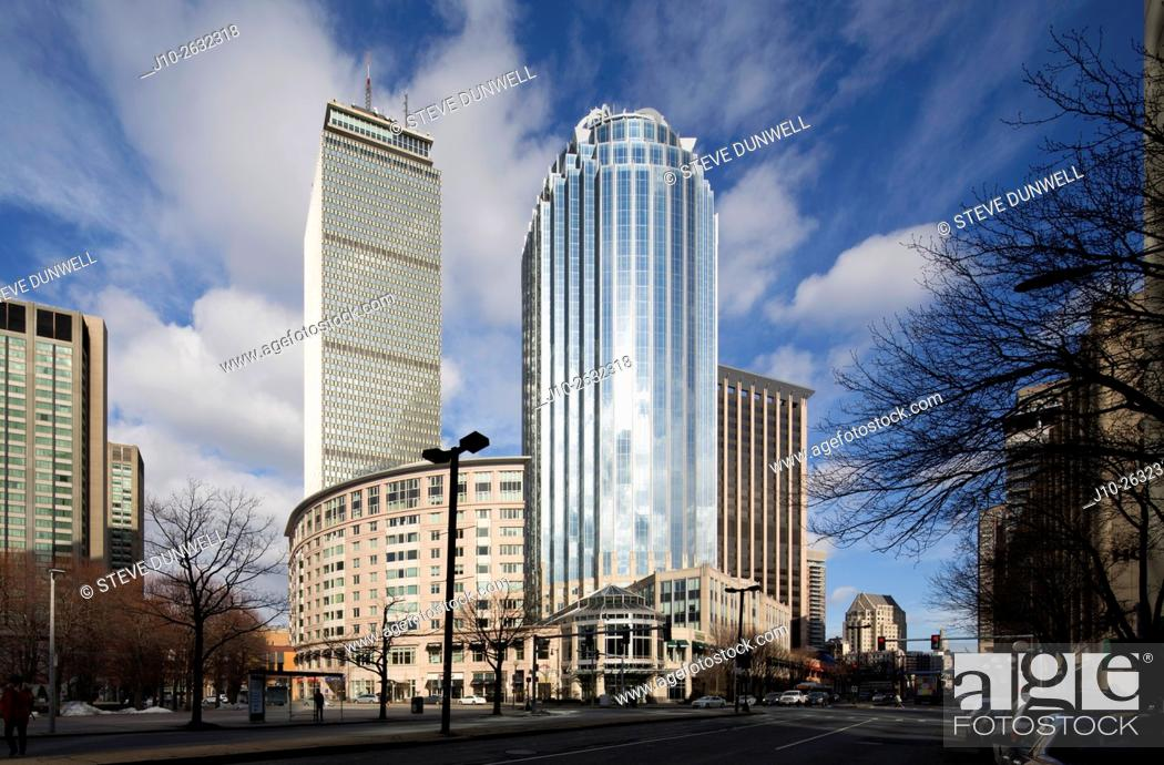 Stock Photo: 111 Huntington Avenue office building, with Prudential center behind. Boston, MA, USA.
