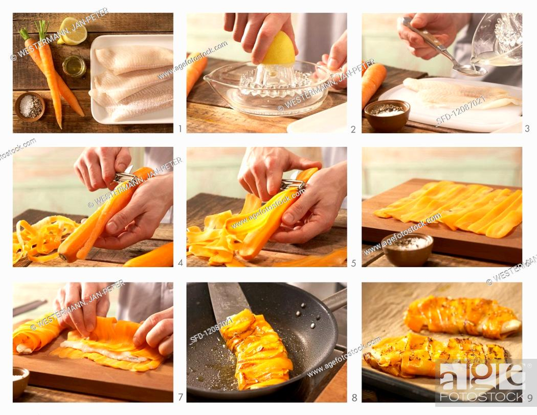 Stock Photo: Baked, carrot-wrapped plaice fillet being made.