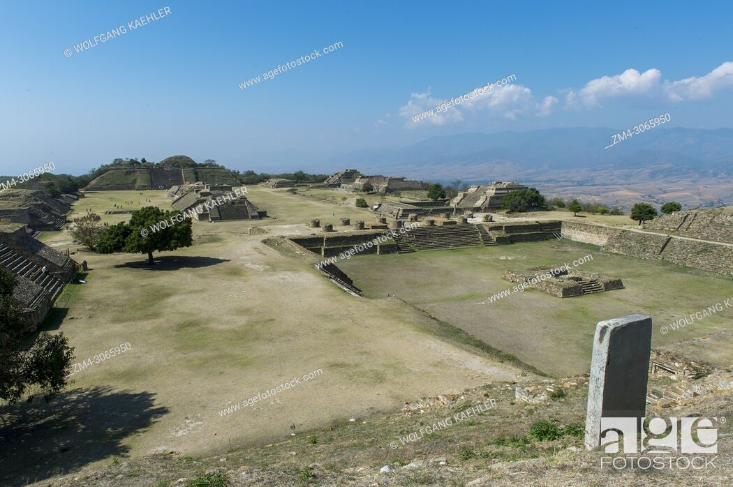 Stock Photo: View of the three meter-deep Sunken Patio, or Patio Hundido, on the North Platform of Monte Alban (UNESCO World Heritage Site).