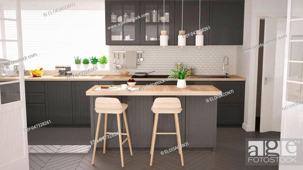 Stock Photo: Scandinavian classic kitchen with wooden and gray details, minimalistic interior design.
