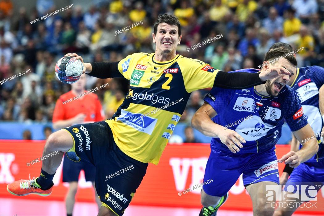 Rhein Neckar Loewen S Andy Schmid L And Vive Targi Kielce S Michal Jurecki Vie For The Ball During Stock Photo Picture And Rights Managed Image Pic Pah 62174455 Agefotostock