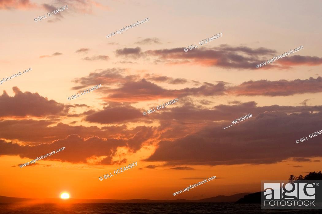 Stock Photo: Sunset at Deception Pass State Park - Washington.