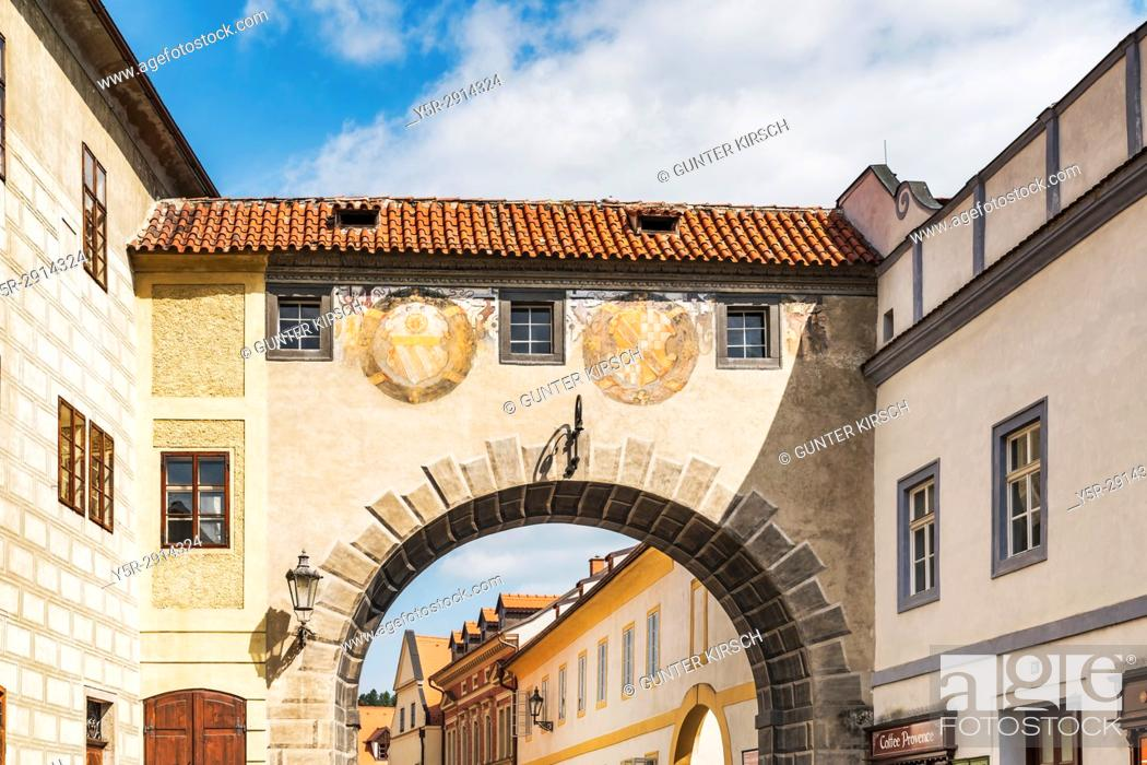 Stock Photo: The connecting passage over the Latran alley between the castle and the monastery is located in the town of Cesky Krumlov on the River Vltava in Bohemia.