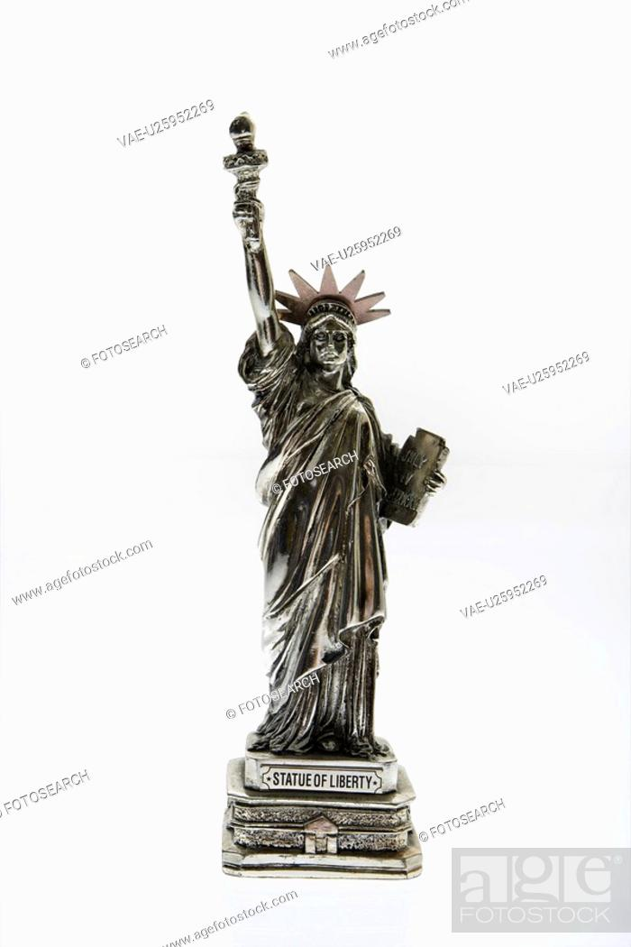Stock Photo: Statue of Liberty reproduction on white background.