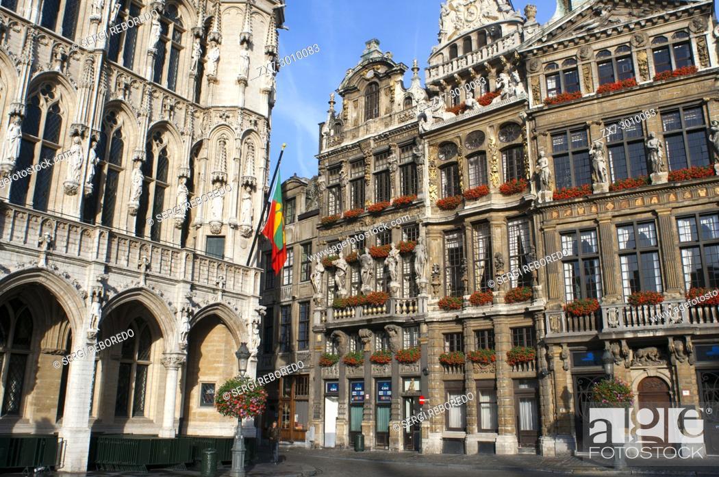 Stock Photo: Brussels Town Hall, (Hotel de Ville or Hôtel de Ville de Bruxelles), Grote Markt (Grand Place), Brussels, Belgium.