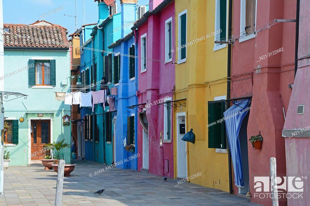 Stock Photo: Burano, Venice, Veneto, Italy, Europe.
