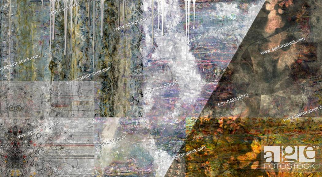 Stock Photo: Muted Abstract Painting. 3D rendering.