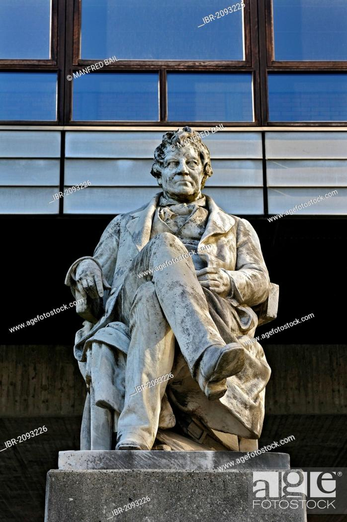 Stock Photo: Statue of Georg Simon Ohm in front of the Technical University Munich, TU, Munich, Bavaria, Germany, Europe.